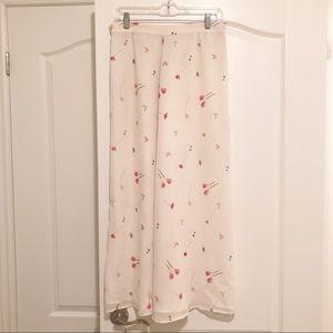 Vintage 100% silk white floral midi maxi skirt
